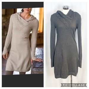 Athleta Gray Riding Hood Sweater Dress Cable Knit